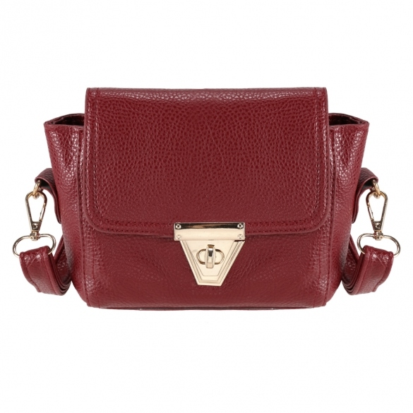 Faux Leather Mini Shoulder Bag with Metal Buckle Closure