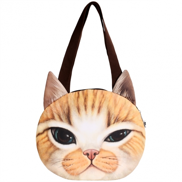 Finejo Fashion Women Cat Head Print Shoulder Bag Tote Clutch Handbag Purse