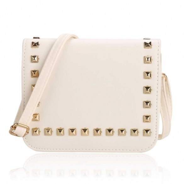 Synthetic Leather Rivets Embellished Flap Shoulder Bag