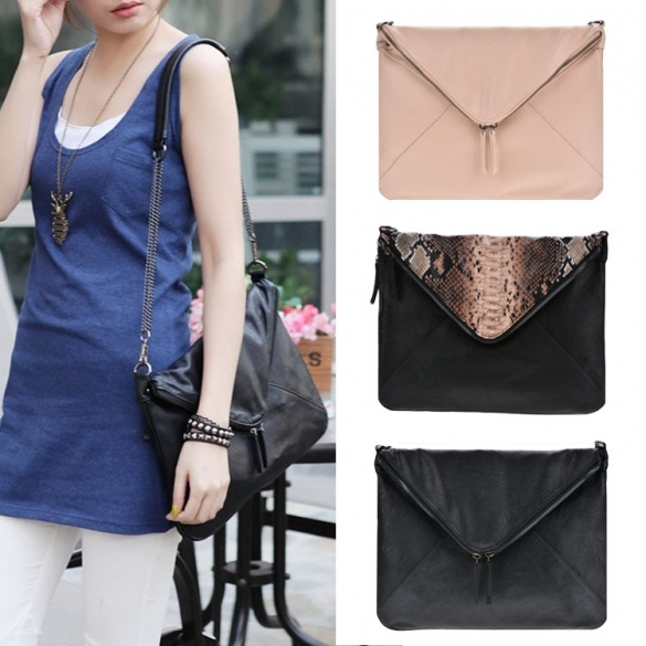 New Women Faux Leather Cool Personality Envelope Clutch Bag Messenger Bag Shoulder Bag