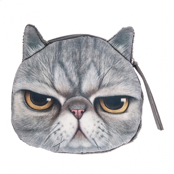Hot Fashion New Women Lady 3D Cat Face Pattern Coin Purse Wallet Clutch Bag Cute Cat Change Purse Dark Gray