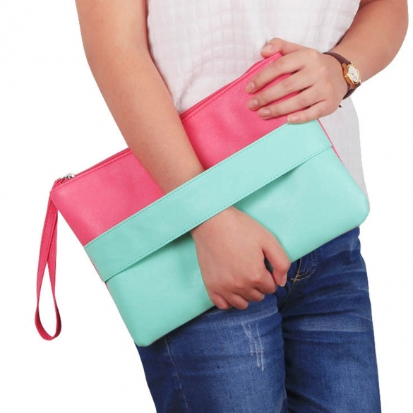 Fashion Lady Women's Artificial Leather Contrast Color Zipper Packet Hand Bag Clutch Bag