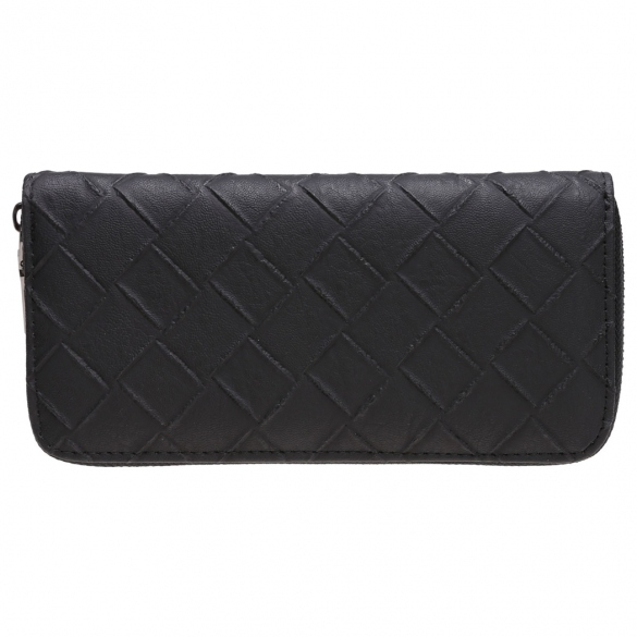Women Fashion Synthetic Leather Zip Around Solid Purse Credit ID Card Holder Long Clutch Wallet