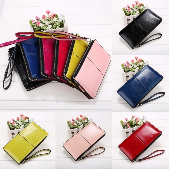 Women Fashion Synthetic Leather Zip Closure Multi-function Wallet Solid Small Handbag Clutch Purse