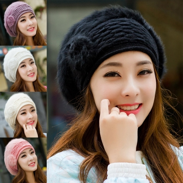 New Fashion Colors Women's Winter Warm Knitted Faux Fur Hats Beanie Cap 5 Colors