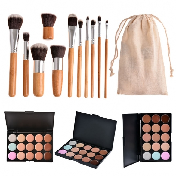 Professional 15 Colors Contour Face Cream Makeup Concealer Palette And 11pcs Brushes Set