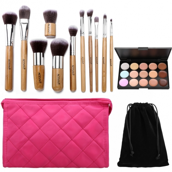 ACEVIVI 15 Colors Makeup Face Cream Concealer Palette + 11 PCS Powder Brushes + Makeup Bag