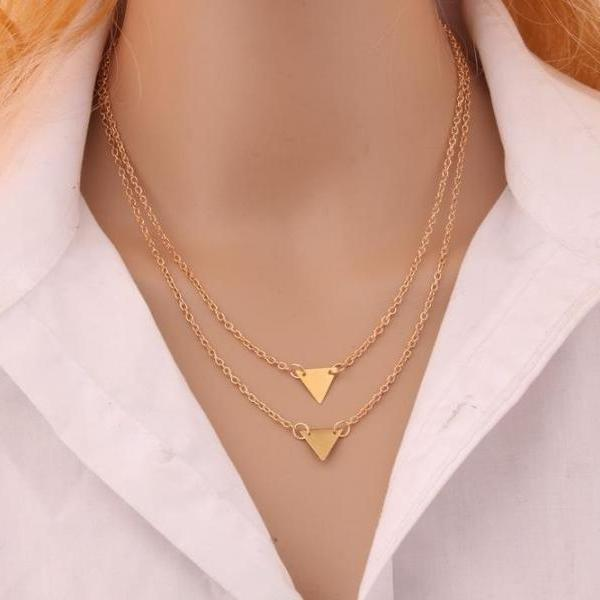 Street Beat Fashion Style Double Triangle Clavicle Pendant Necklace
