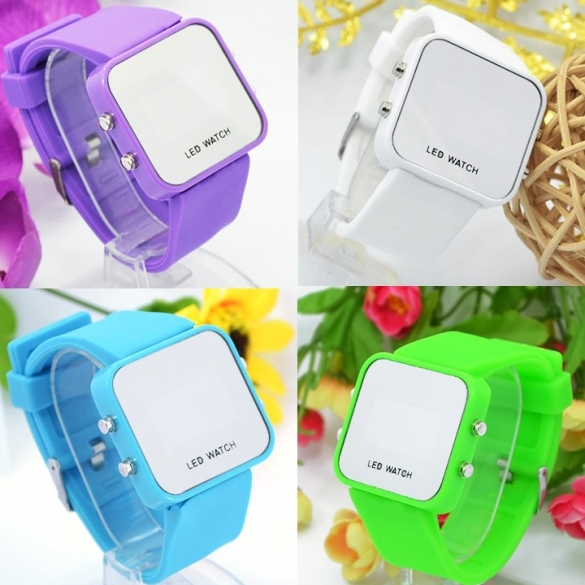Faceless Mirror Watch Men Lady Sport Digital Date Wrist Watch LED Silicone