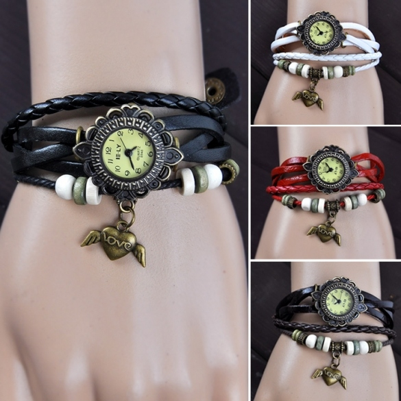 Women's Vintage Style Bronze Angel Heart Hollow Carved Leather Hand-woven Bracelet Watch