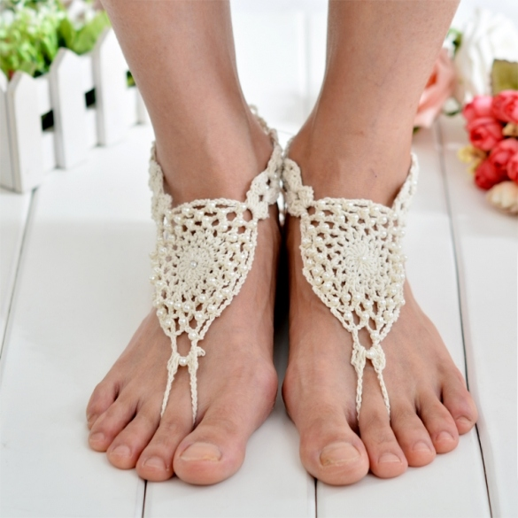 Hot Fashion Women Hand-made Knit Crochet Hollow Out Beads Lace Up Casual Beach Anklets Bracelets