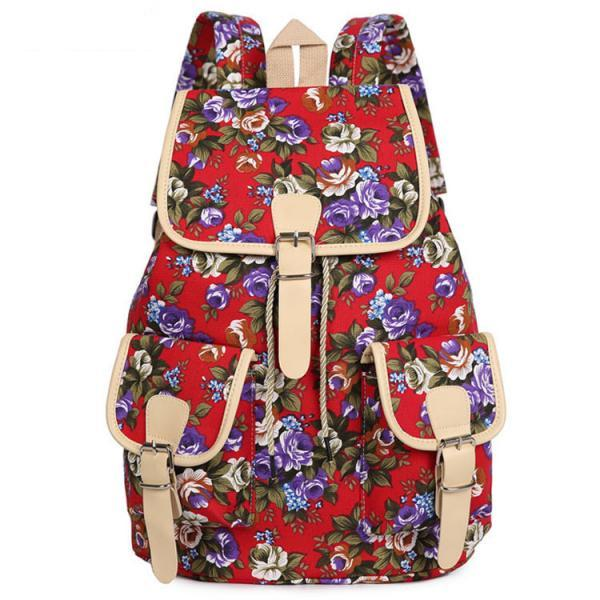 Flower Print Drawstring Flap Buckle Backpack