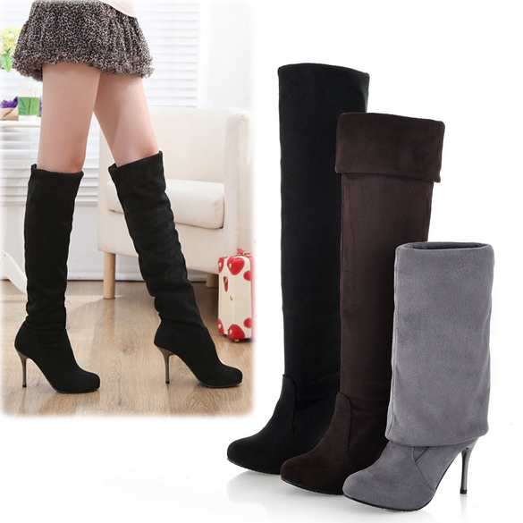 women 39 s elegant suede over the knee thigh stretchy high heels boot shoes on luulla. Black Bedroom Furniture Sets. Home Design Ideas