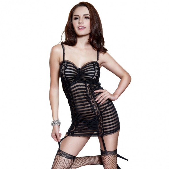 On Clearance Women Hot Sexy Black Lines Mesh Lace Underwear Lingerie Dress +G-string