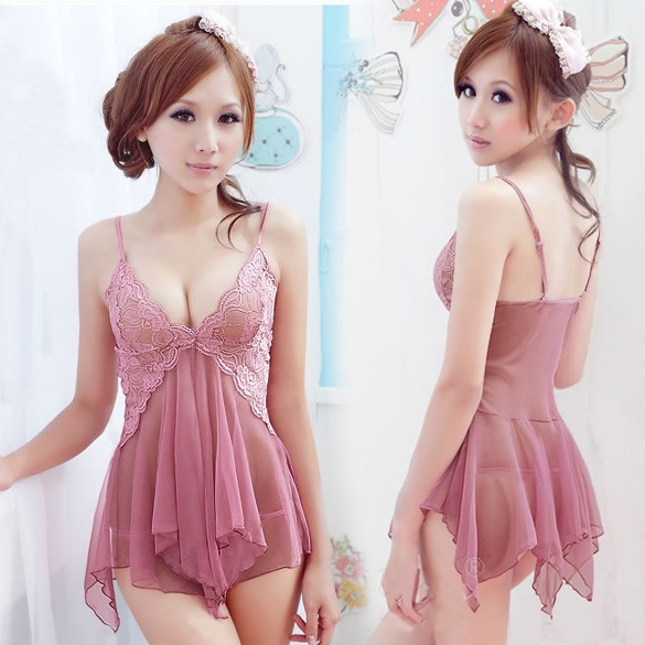 Women's Sexy Lace See-through Sleepwear Nightwear Dress Skirt +G-string Set