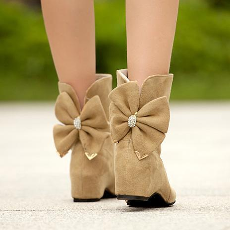 Sweet Big Bowknot Increased Women's Short Boots