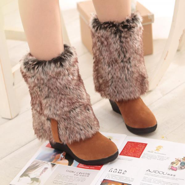 Faux Rabbit Hair Wedge Foldable Thickening Snow Boots
