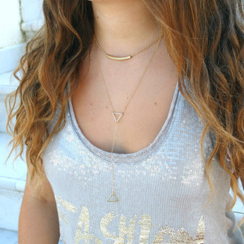 Metal Pipe Bending Hollow Out Triangle Long Necklace