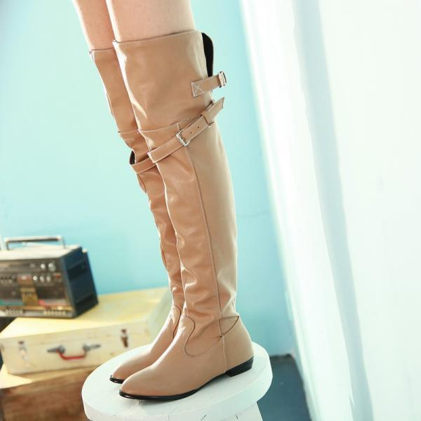 Knee-High Round Head Buckle Side Zippers Boots