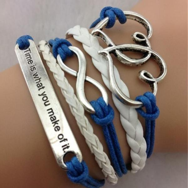 Romantic Number Eight Multiple Leather Cord Bracelet