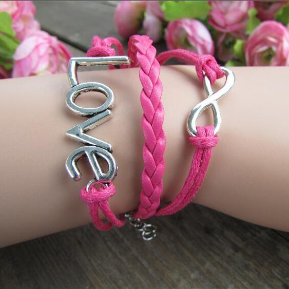 LOVE 8 Multilayer Pink Leather Cord Bracelet