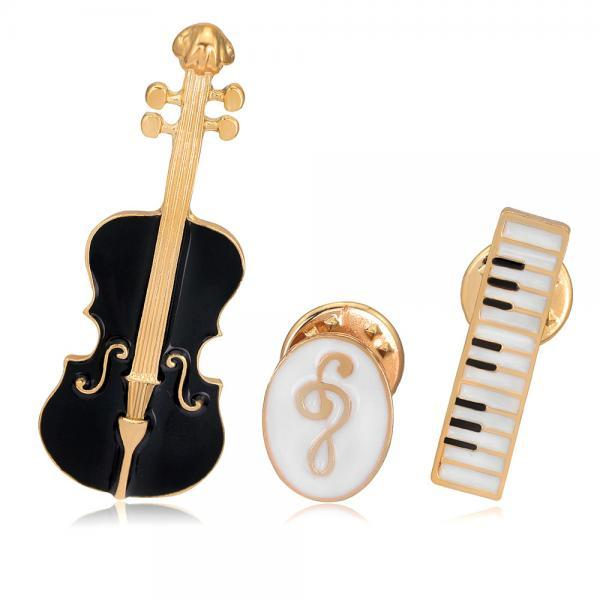 ViolinMusic Keyboard Instrument Combination Brooch