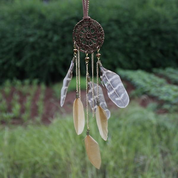 Dreamcatcher Hand-Woven Feather Necklace Sweater Chain