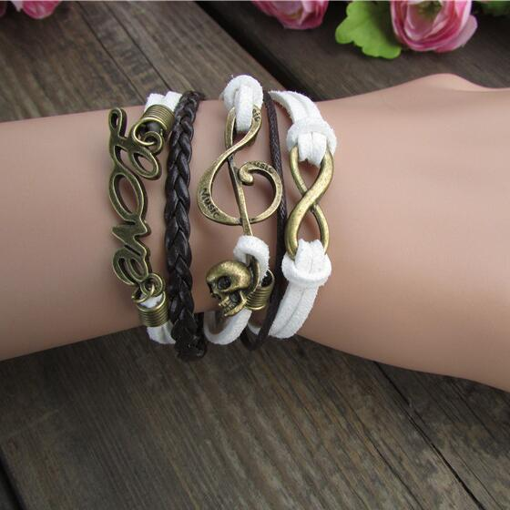Unique LOVE Skull Hand-made Leather Cord Bracelet