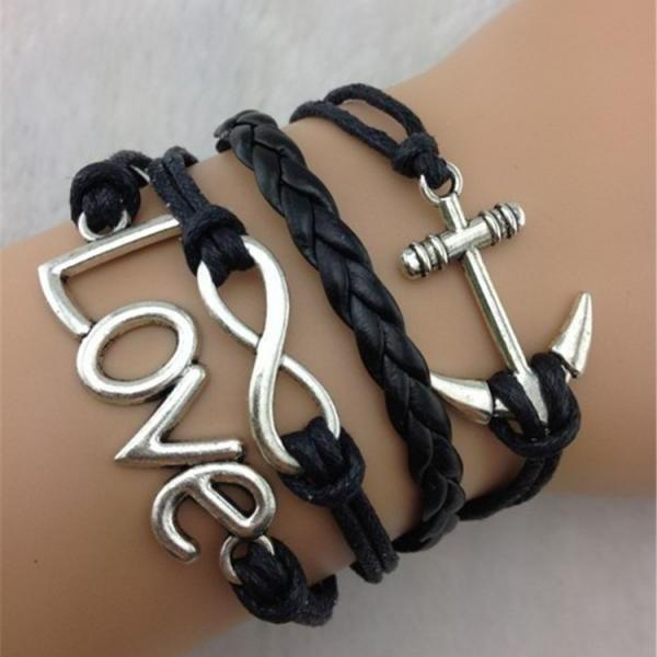 Black Retro Style Multielement Hand-Woven Bracelet