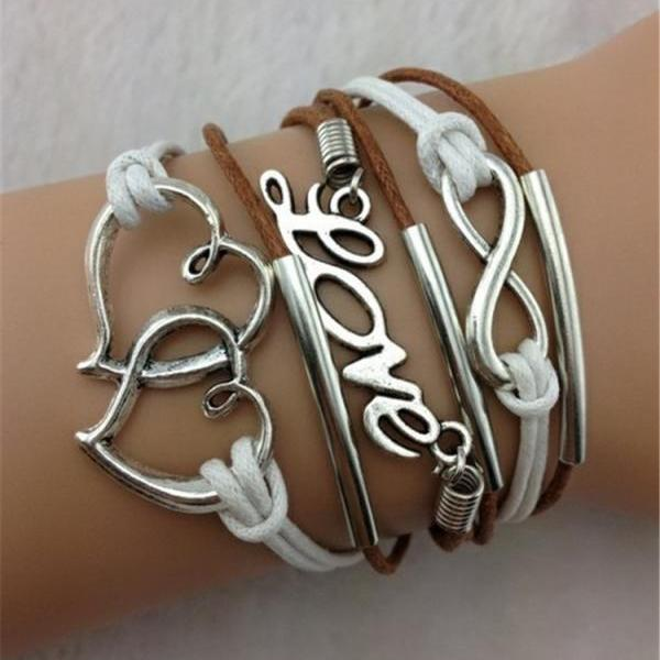 Multiple Double Heart LOVE 8 Fashion Leather Cord Bracelet