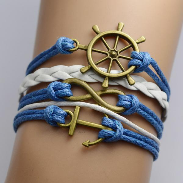 Retro Anchor Rudder Multilayer Bracelet