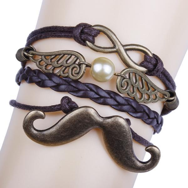 Mustache Wings DIY Handmade Multilayer Woven Bracelet