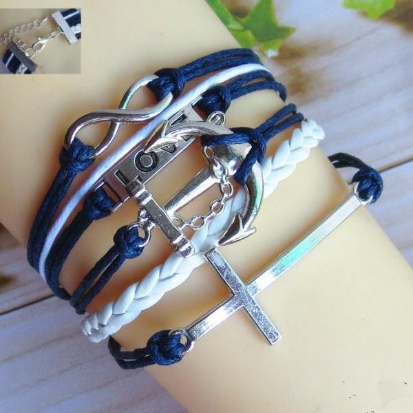 Cross Anchor LOVE 8 Leather Cord Bracelet
