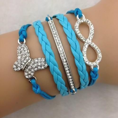 Crystal Butterfly Woven Multilayer Bracelet