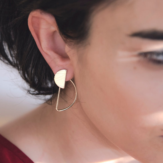 Fashion Party Geometric Semicircle Stud Earrings