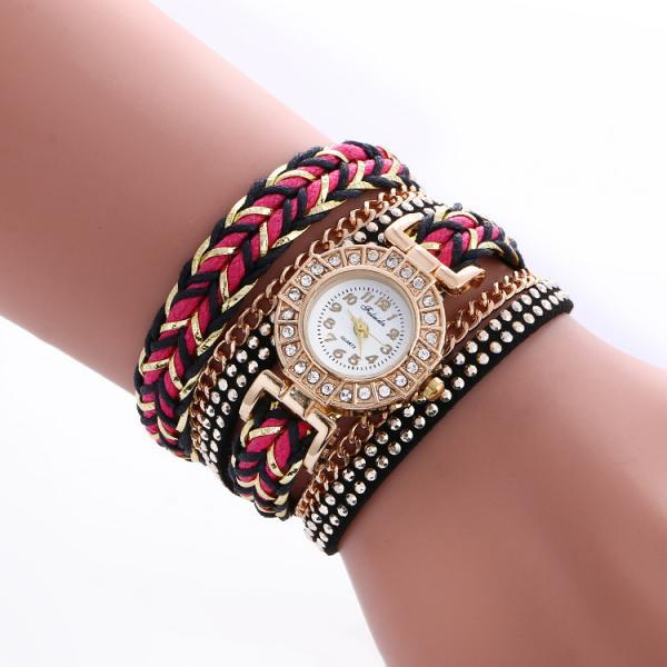 Bohemian Style Woven Strap Crystal Watch
