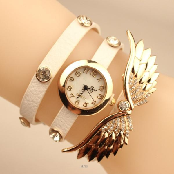 Angel's Wings Pu Strap Watch