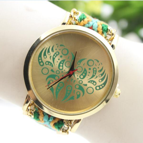 Colorful Love Design Wool Knitting Strap Watch