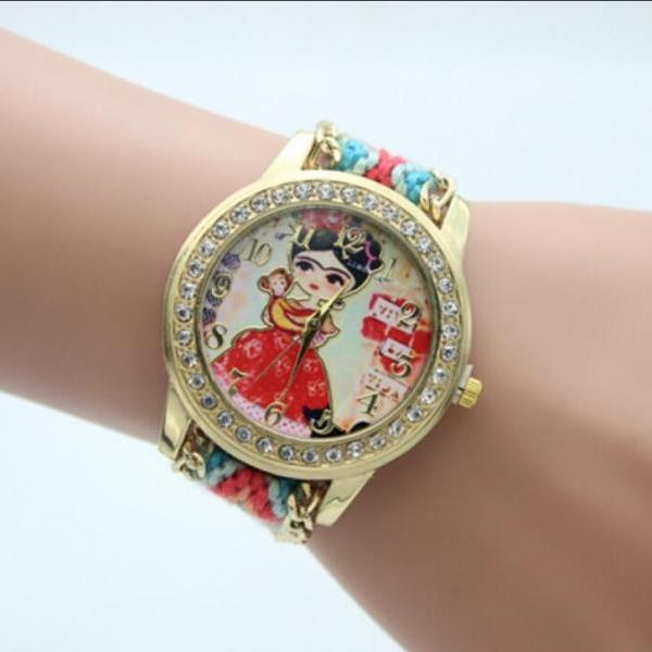 Beautiful Girl Print Woolen Yarn Watch