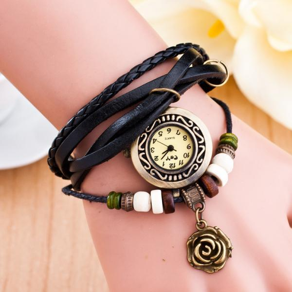 Metal Rose Pendant Woven Bracelet Watch