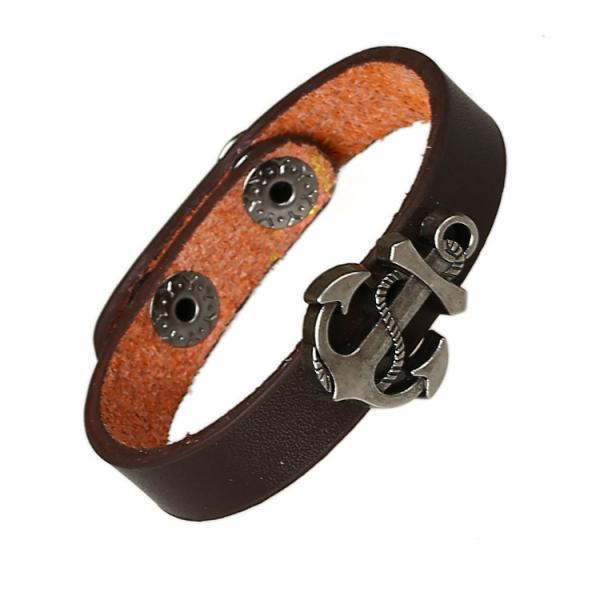 Simple Fashion Anchor Decorate Leather Bracelet