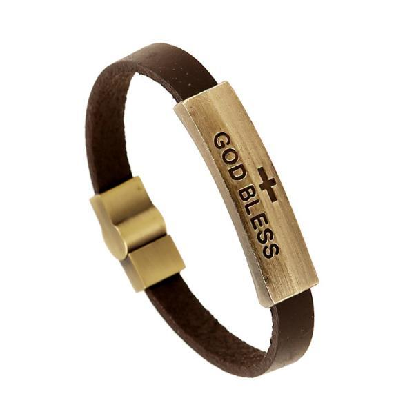 GOD BLESS Alloy Leather Bracelet