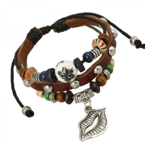 Lip Shape Pendant Beaded Multilayer Leather Bracelet