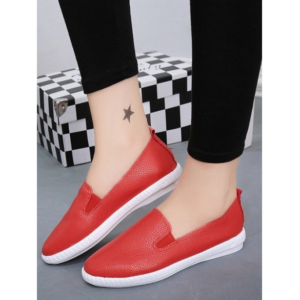 Korean Fashion Women Casual Flat Shoes Solid Loafers Slip On Flats Round Toe 3 Colors Size 37-40