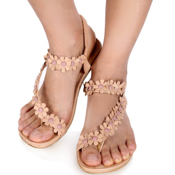 Bohemian Style Women Lady Casual Summer Floral Beach Flip Flop Sandals Synthetic Leather Flat Shoes