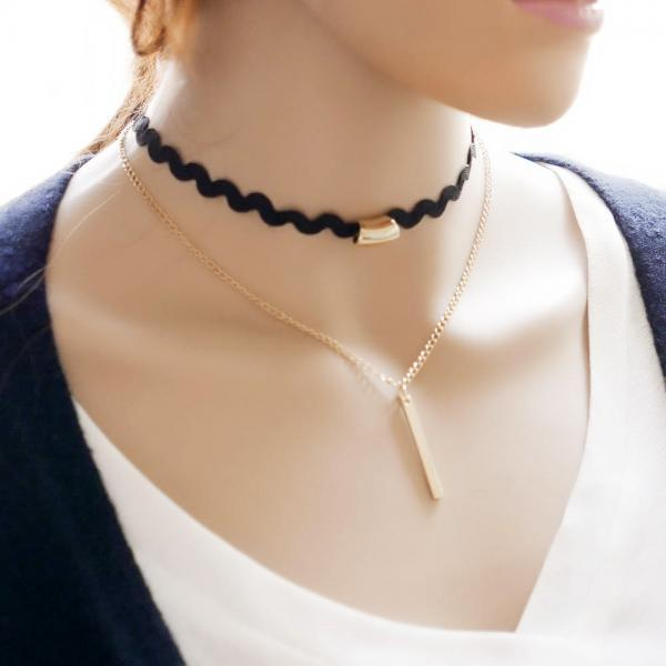 Vertical Gold Bar Double Layered Zig-Zag Choker Necklace