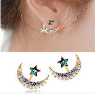 Color Crystal Moon Star Earrings