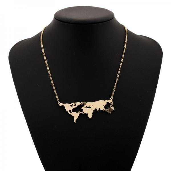 World Map Chain Necklace in Gold, Silver, Rose Gold or Black