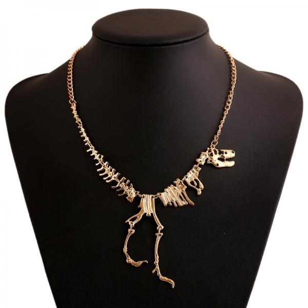 Europe and the United States with the same personality dinosaur skeleton Necklace