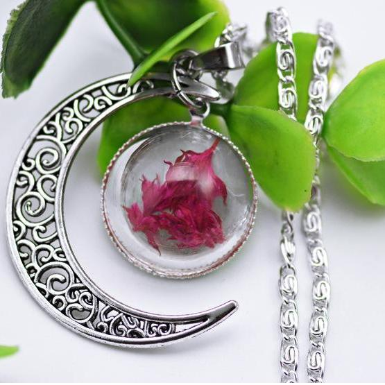 Alloy silver plated star time jewel Moon Necklace